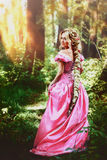 Beautiful girl with long hair braided in a braid, in corset and magnificent pink dress. Beautiful young woman with long hair, twisted into a braid, walks in the Stock Photo