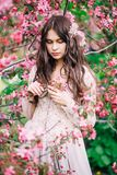 Beautiful girl with long hair, decoration in beige boudoir lace dress near pink Sakura, looking down, close-up stock photography