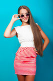 Beautiful girl with long hair in a dress Royalty Free Stock Image