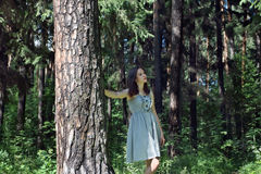 Beautiful girl with long hair in dress walking in woods Stock Photography