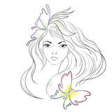 Beautiful girl with long hair. Line art  illustration. Beauty Salon design background or banner. Health and spa cosmetics Stock Images