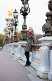 Beautiful girl with long hair on the Pont Alexandre III Royalty Free Stock Photography