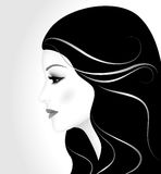Beautiful girl with long hair, profile Royalty Free Stock Photography