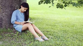 A Beautiful girl with long hair reads a book sitting under a tree on a sunny day. A Beautiful little girl with long black hair and in a blue dress reading a book stock footage