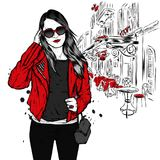 A beautiful girl with long hair in sunglasses, a jacket, a T-shirt and jeans. Fashion and style, clothing and accessories. Vector illustration Royalty Free Stock Photos