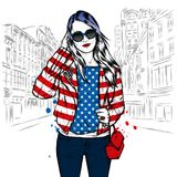 A beautiful girl with long hair in sunglasses, a jacket, a T-shirt and jeans. Fashion and style, clothing and accessories. Vector illustration Royalty Free Stock Photography