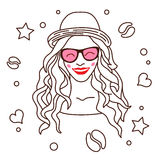 Beautiful girl with long hair, wearing a hat, pink glasses Stock Photos