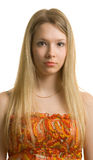 Beautiful girl with long hair on white Royalty Free Stock Photo