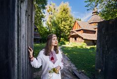 Ukrainian woman in ethnic village stock photography