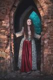 Beautiful girl in long medieval dress in old abandoned castle stock images