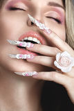 Beautiful girl with long nails royalty free stock photo