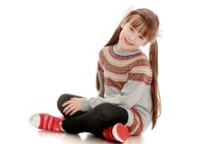 Beautiful girl with long pigtails Royalty Free Stock Photos