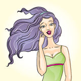 Beautiful girl with long purple hair portrait vect. Vector eps illustration of a beautiful woman with long violet hair royalty free illustration