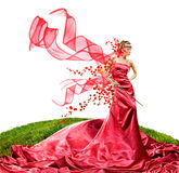 Beautiful girl in a long red dress royalty free stock photo