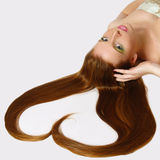 The beautiful  girl with long red hair Stock Photo