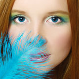 The beautiful  girl with long red hair Royalty Free Stock Photos