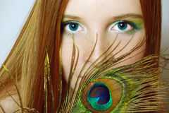 The beautiful  girl with long red hair Stock Image