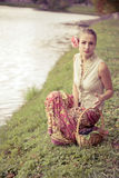 Beautiful girl in a long skirt Royalty Free Stock Photography