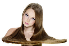 Beautiful  girl with long smooth hair Royalty Free Stock Photography