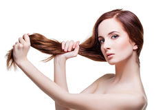 Beautiful girl with long strong hair Stock Photo