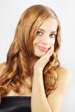 Beautiful girl with long wavy hair royalty free stock photos