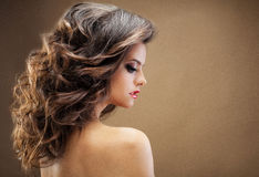 Beautiful girl with long wavy hair . Brunette with curly hairsty Stock Photos