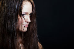 Beautiful girl with long wet hair Stock Images