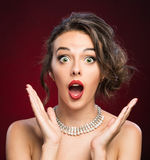 Beautiful girl  looking excited Royalty Free Stock Image