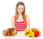 Beautiful girl looking for food Royalty Free Stock Photo