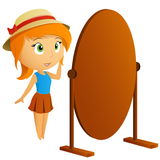 Beautiful girl looking in mirror Royalty Free Stock Images