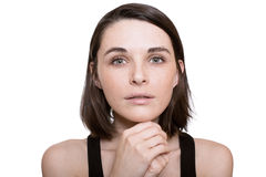 Beautiful girl looking pleads white background Stock Photos
