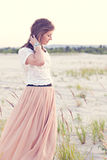 Beautiful girl looks wistfully Stock Photography