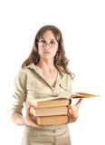 Beautiful girl with a lot of books Royalty Free Stock Photo