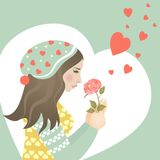 Beautiful girl in love with rose. Vector greeting card Stock Images