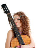 Beautiful Girl loving guitar Royalty Free Stock Photo