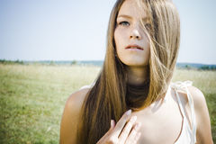 Beautiful girl with luxuriant hair Royalty Free Stock Images