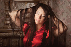 Beautiful girl in a luxurious vintage interior Royalty Free Stock Images