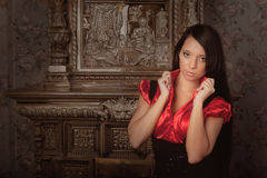 Beautiful girl in a luxurious vintage interior Stock Photo