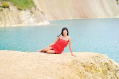 Beautiful girl lying on a beach Royalty Free Stock Photo
