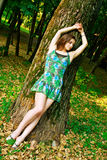 Beautiful girl is lying on the tree in the park. Stock Images