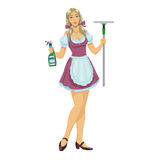 Beautiful girl maid cleaner Royalty Free Stock Photo
