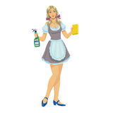 Beautiful girl maid cleaner Stock Photo