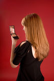 beautiful girl make mirror process up Στοκ εικόνα με δικαίωμα ελεύθερης χρήσης