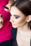 Beautiful girl make-up applied. Stock Image