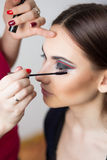 Beautiful girl make-up applied. Stock Images