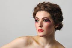 Beautiful girl make-up close-up Stock Photo