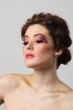 Beautiful girl make-up close-up Stock Photography