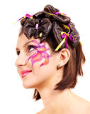 Beautiful girl with make up and hairstyle. Royalty Free Stock Images