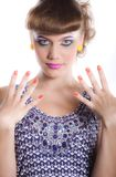 Beautiful girl with make-up and manicure Royalty Free Stock Photo