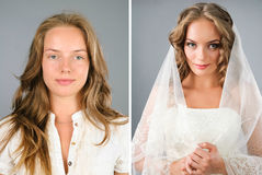 Beautiful girl before and after makeover Stock Photo
